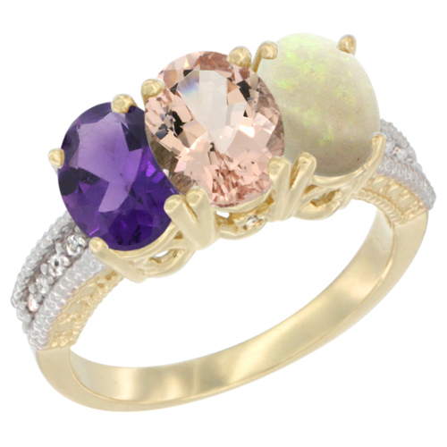10K Yellow Gold Diamond Natural Amethyst, Morganite & Opal Ring Oval 3-Stone 7x5 mm,sizes 5-10
