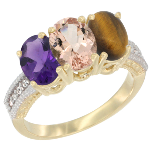 10K Yellow Gold Diamond Natural Amethyst, Morganite & Tiger Eye Ring Oval 3-Stone 7x5 mm,sizes 5-10