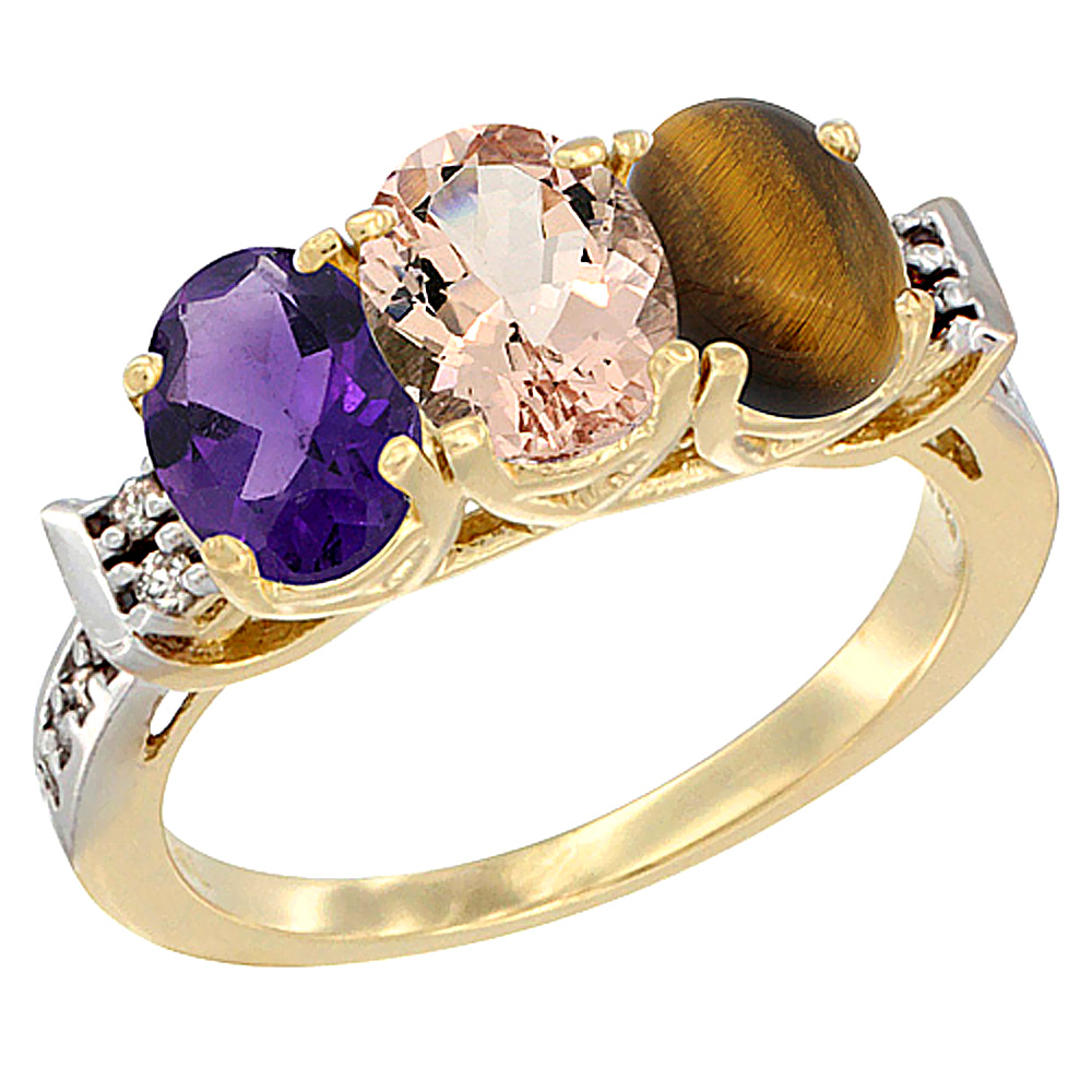 14K Yellow Gold Natural Amethyst, Morganite & Tiger Eye Ring 3-Stone 7x5 mm Oval Diamond Accent, sizes 5 - 10