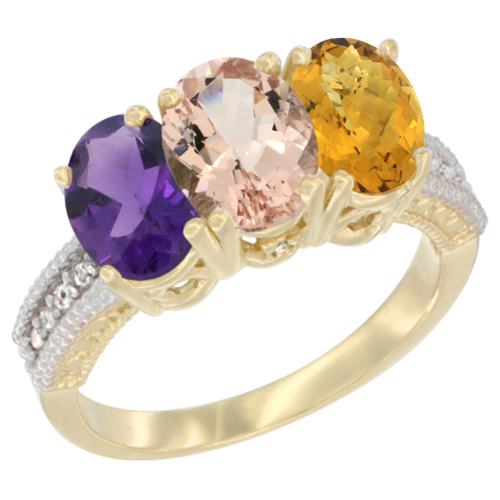 10K Yellow Gold Diamond Natural Amethyst, Morganite & Whisky Quartz Ring Oval 3-Stone 7x5 mm,sizes 5-10