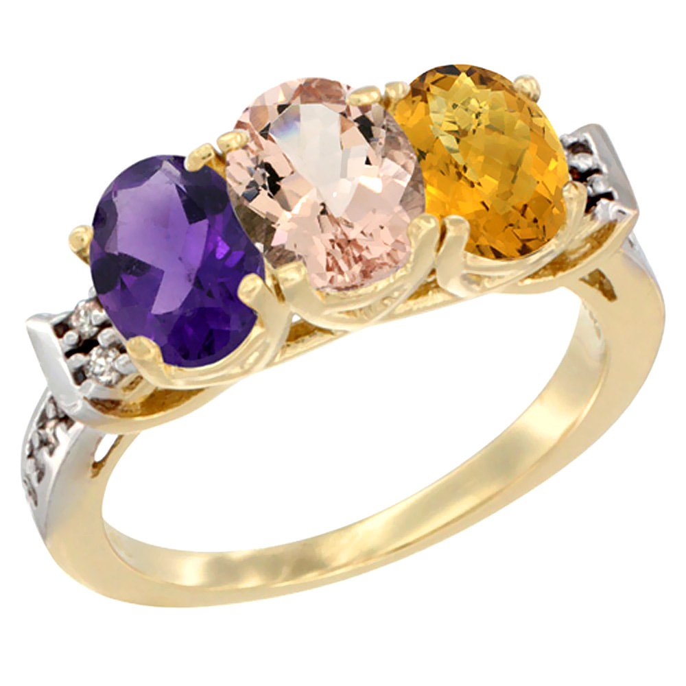 14K Yellow Gold Natural Amethyst, Morganite & Whisky Quartz Ring 3-Stone 7x5 mm Oval Diamond Accent, sizes 5 - 10