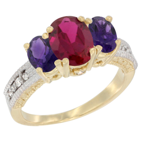 10K Yellow Gold Diamond Enhanced Ruby Ring Oval 3-stone with Amethyst, sizes 5 - 10