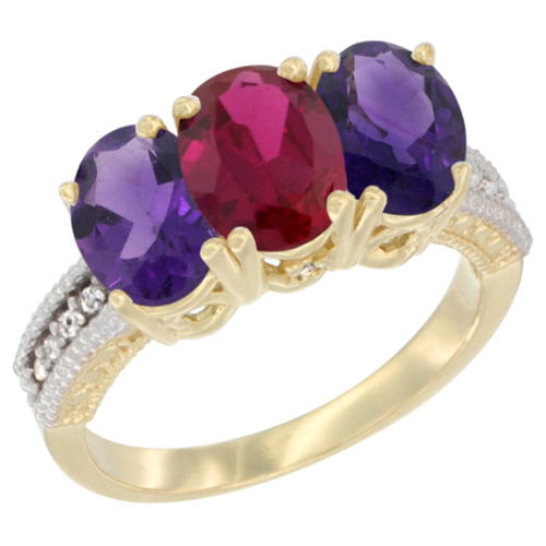 14K Yellow Gold Enhanced Ruby & Natural Amethyst Ring 3-Stone 7x5 mm Oval Diamond Accent, sizes 5 - 10