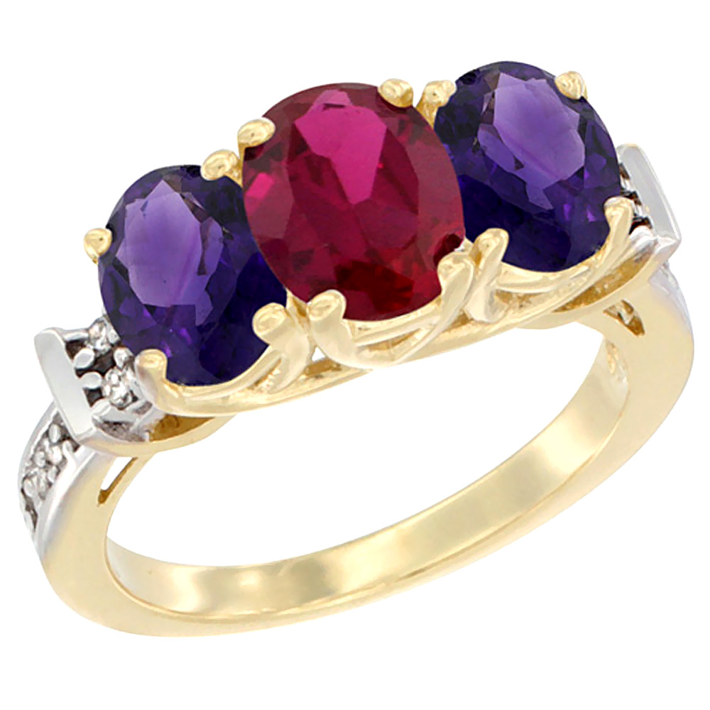 10K Yellow Gold Enhanced Ruby & Amethyst Sides Ring 3-Stone Oval Diamond Accent, sizes 5 - 10