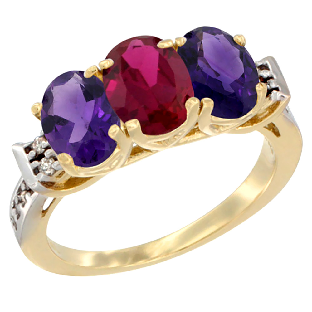 10K Yellow Gold Natural Enhanced Ruby & Natural Amethyst Sides Ring 3-Stone Oval 7x5 mm Diamond Accent, sizes 5 - 10