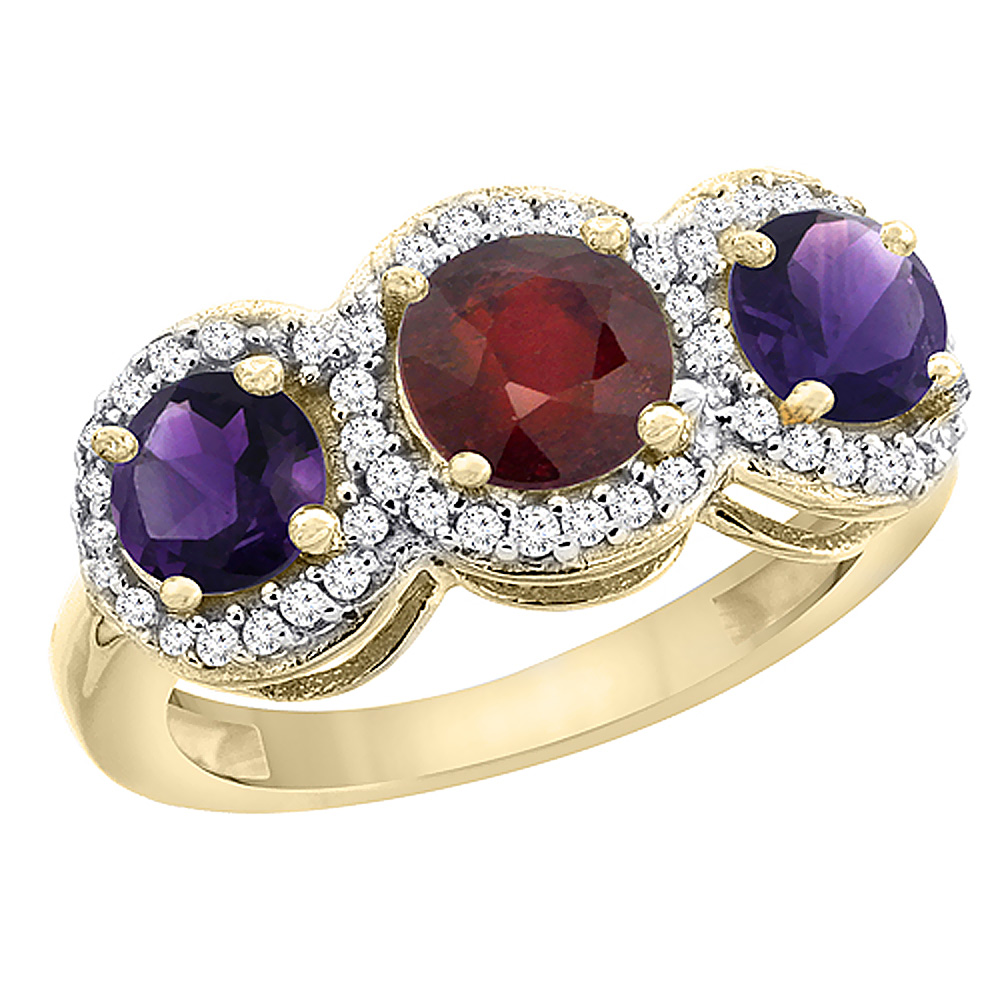 10K Yellow Gold Enhanced Ruby & Amethyst Sides Round 3-stone Ring Diamond Accents, sizes 5 - 10