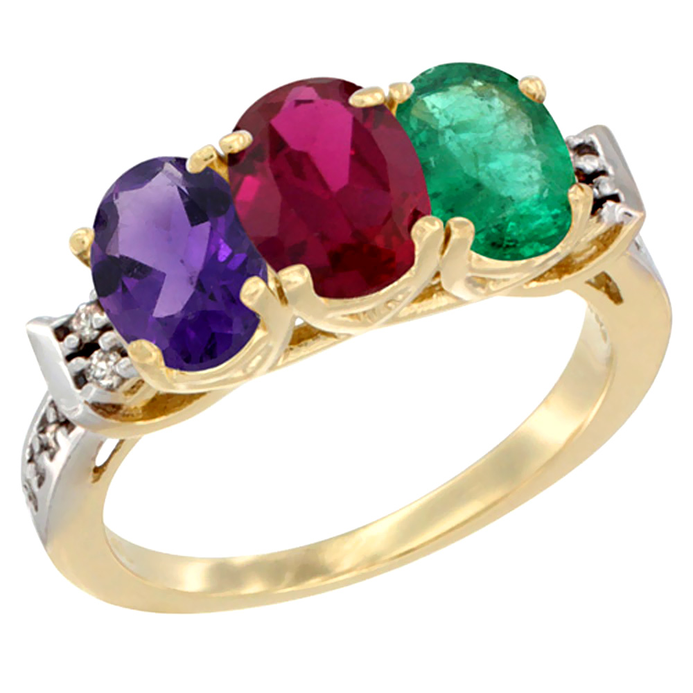 14K Yellow Gold Natural Amethyst, Enhanced Ruby & Natural Emerald Ring 3-Stone 7x5 mm Oval Diamond Accent, sizes 5 - 10