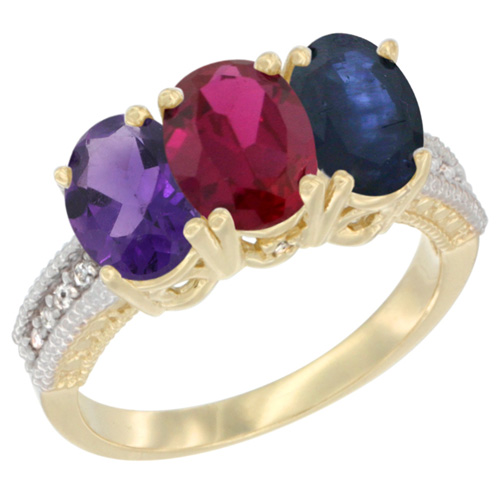 10K Yellow Gold Diamond Natural Amethyst, Enhanced Ruby & Natural Blue Sapphire Ring Oval 3-Stone 7x5 mm,sizes 5-10