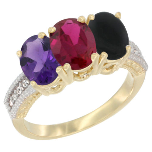 14K Yellow Gold Natural Amethyst, Enhanced Ruby & Natural Black Onyx Ring 3-Stone 7x5 mm Oval Diamond Accent, sizes 5 - 10