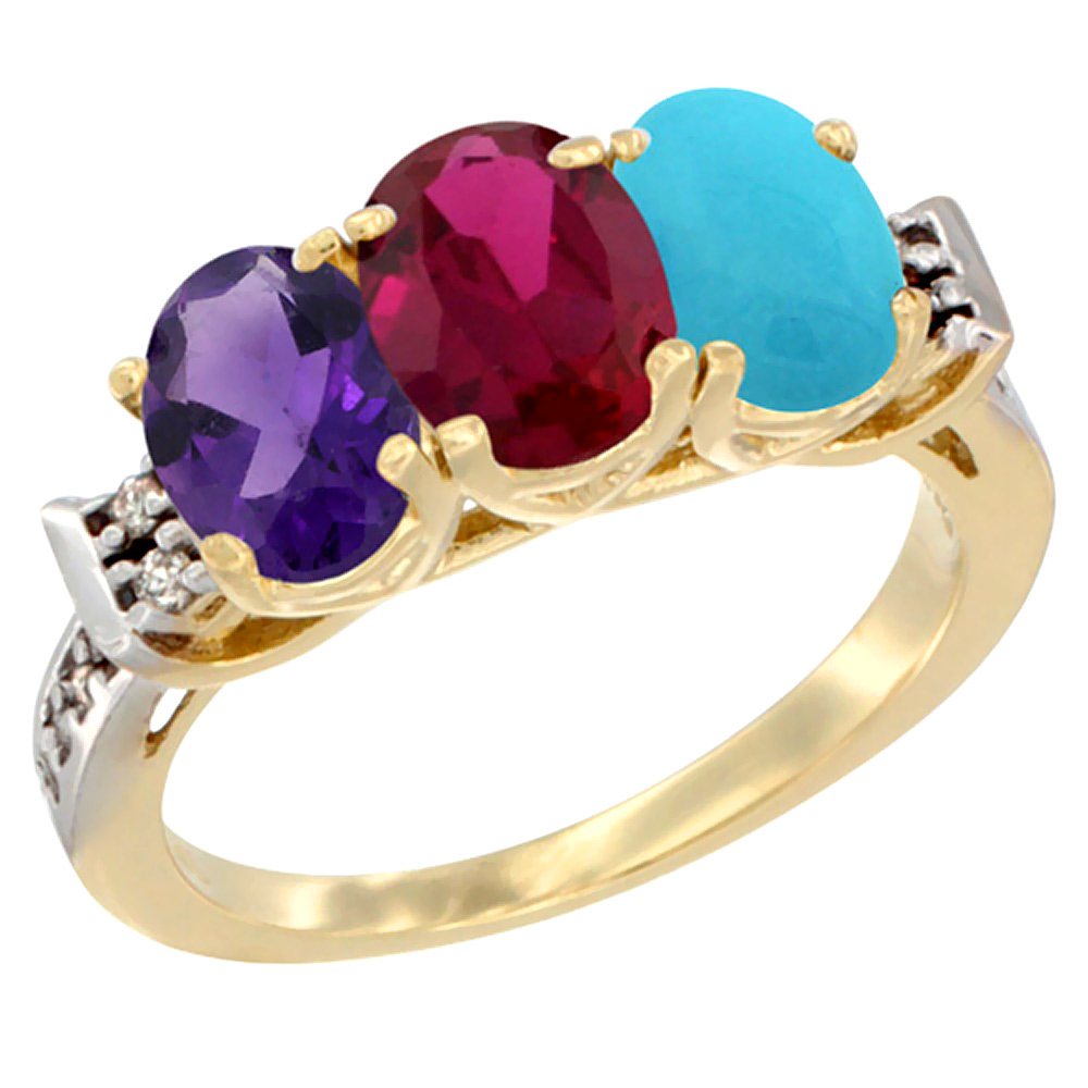 14K Yellow Gold Natural Amethyst, Enhanced Ruby & Natural Turquoise Ring 3-Stone 7x5 mm Oval Diamond Accent, sizes 5 - 10