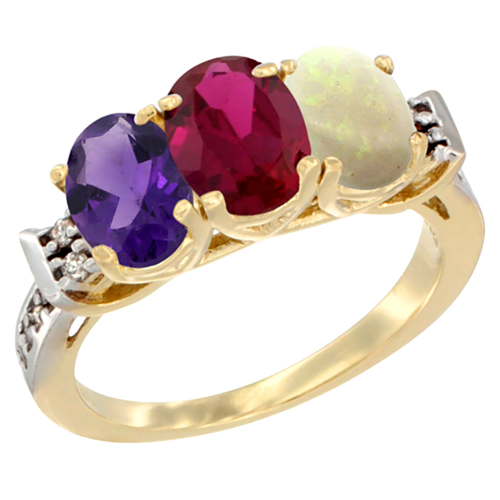 10K Yellow Gold Natural Amethyst, Enhanced Ruby & Natural Opal Ring 3-Stone Oval 7x5 mm Diamond Accent, sizes 5 - 10