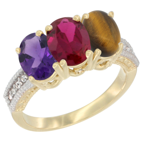 14K Yellow Gold Natural Amethyst, Enhanced Ruby & Natural Tiger Eye Ring 3-Stone 7x5 mm Oval Diamond Accent, sizes 5 - 10