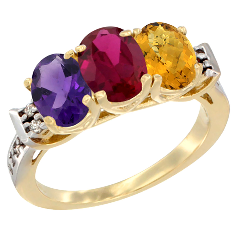 14K Yellow Gold Natural Amethyst, Enhanced Ruby & Natural Whisky Quartz Ring 3-Stone 7x5 mm Oval Diamond Accent, sizes 5 - 10