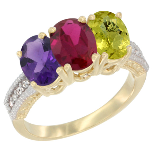 14K Yellow Gold Natural Amethyst, Enhanced Ruby & Natural Lemon Quartz Ring 3-Stone 7x5 mm Oval Diamond Accent, sizes 5 - 10