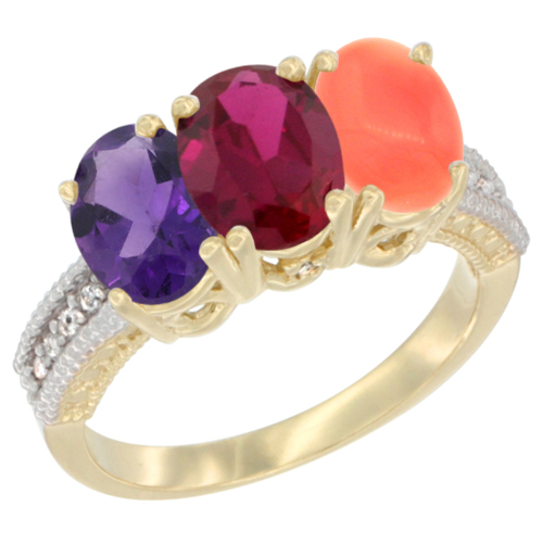10K Yellow Gold Diamond Natural Amethyst, Enhanced Ruby & Natural Coral Ring Oval 3-Stone 7x5 mm,sizes 5-10