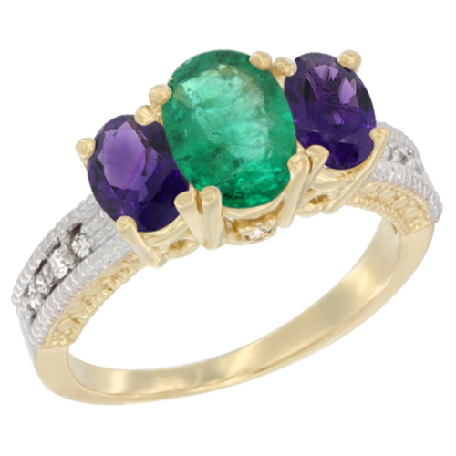 10K Yellow Gold Diamond Natural Emerald Ring Oval 3-stone with Amethyst, sizes 5 - 10