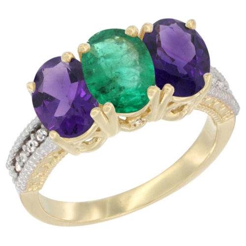 10K Yellow Gold Diamond Natural Emerald & Amethyst Ring Oval 3-Stone 7x5 mm,sizes 5-10