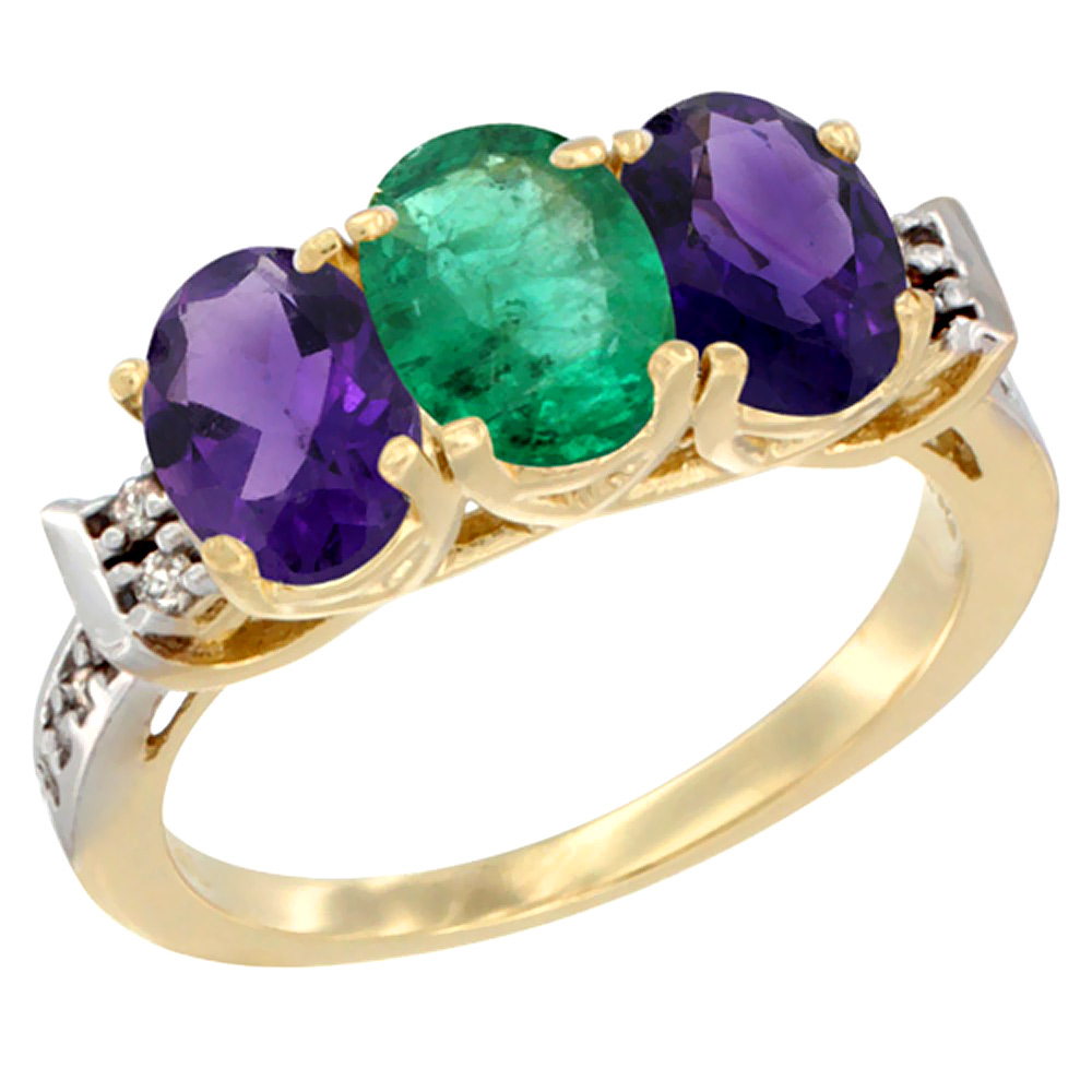14K Yellow Gold Natural Emerald & Amethyst Sides Ring 3-Stone 7x5 mm Oval Diamond Accent, sizes 5 - 10