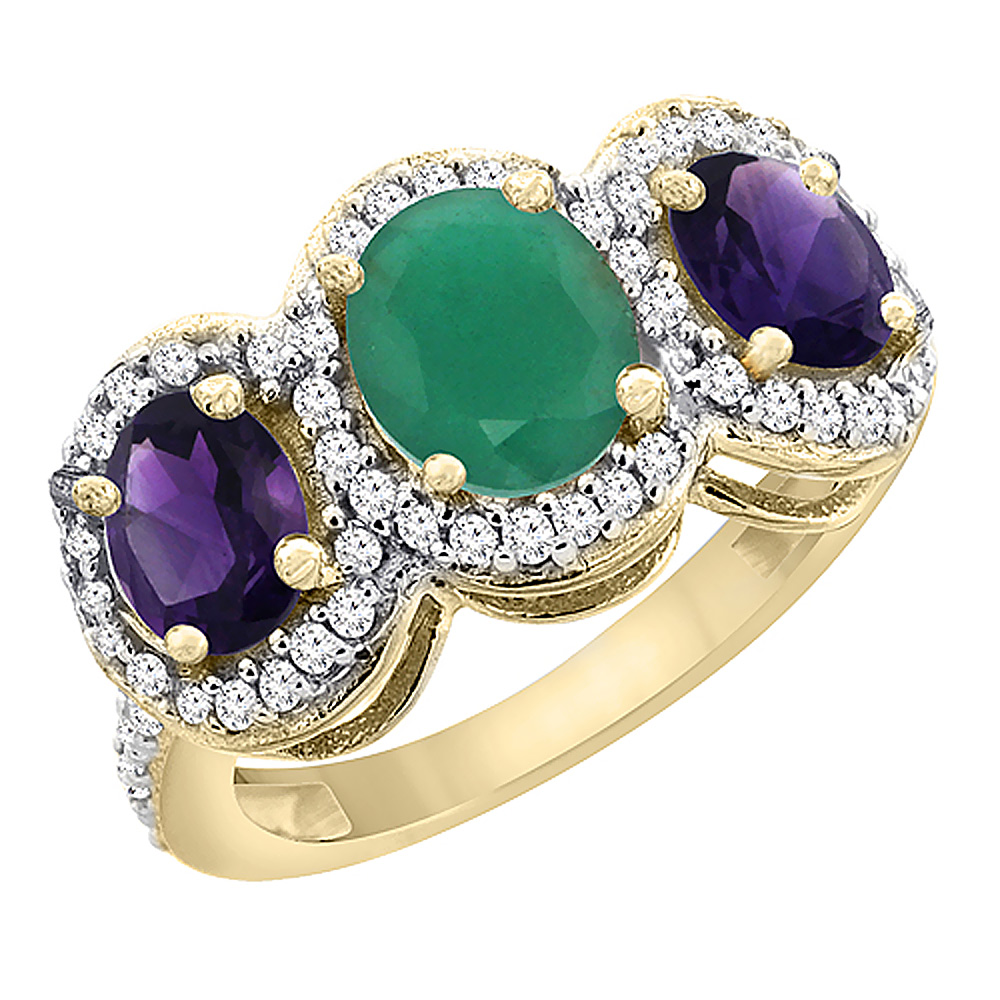 14K Yellow Gold Natural Emerald & Amethyst 3-Stone Ring Oval Diamond Accent, sizes 5 - 10
