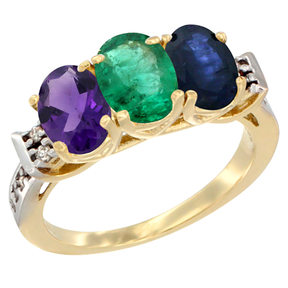 10K Yellow Gold Natural Amethyst, Emerald & Blue Sapphire Ring 3-Stone Oval 7x5 mm Diamond Accent, sizes 5 - 10