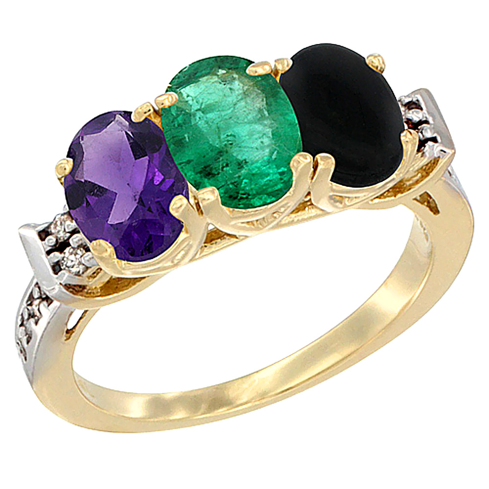 10K Yellow Gold Natural Amethyst, Emerald & Black Onyx Ring 3-Stone Oval 7x5 mm Diamond Accent, sizes 5 - 10
