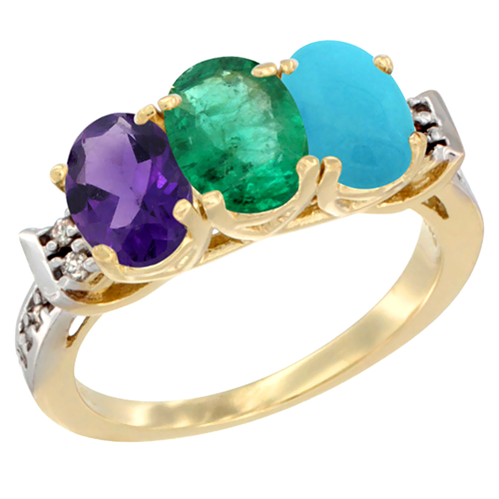 10K Yellow Gold Natural Amethyst, Emerald & Turquoise Ring 3-Stone Oval 7x5 mm Diamond Accent, sizes 5 - 10