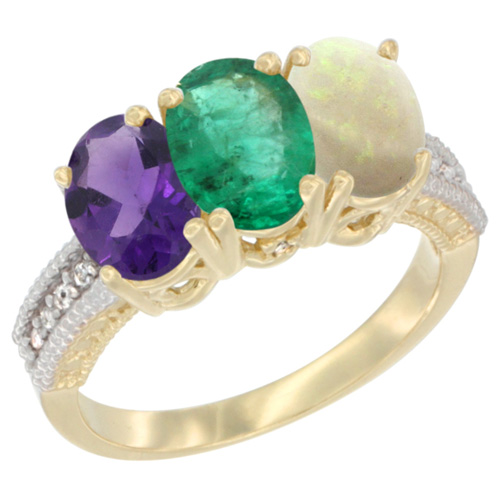 10K Yellow Gold Diamond Natural Amethyst, Emerald & Opal Ring Oval 3-Stone 7x5 mm,sizes 5-10