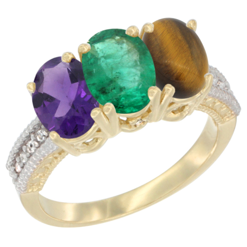 10K Yellow Gold Diamond Natural Amethyst, Emerald & Tiger Eye Ring Oval 3-Stone 7x5 mm,sizes 5-10