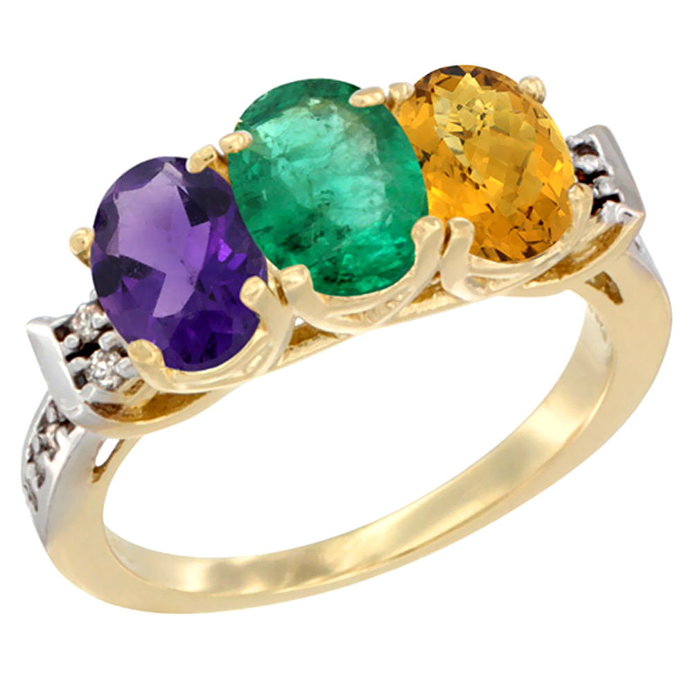 14K Yellow Gold Natural Amethyst, Emerald & Whisky Quartz Ring 3-Stone 7x5 mm Oval Diamond Accent, sizes 5 - 10