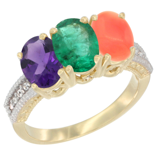 14K Yellow Gold Natural Amethyst, Emerald & Coral Ring 3-Stone 7x5 mm Oval Diamond Accent, sizes 5 - 10