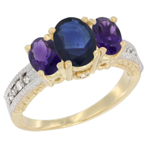 14K Yellow Gold Diamond Natural Blue Sapphire Ring Oval 3-stone with Amethyst, sizes 5 - 10