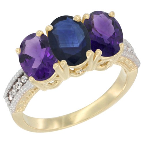 14K Yellow Gold Natural Blue Sapphire & Amethyst Ring 3-Stone 7x5 mm Oval Diamond Accent, sizes 5 - 10