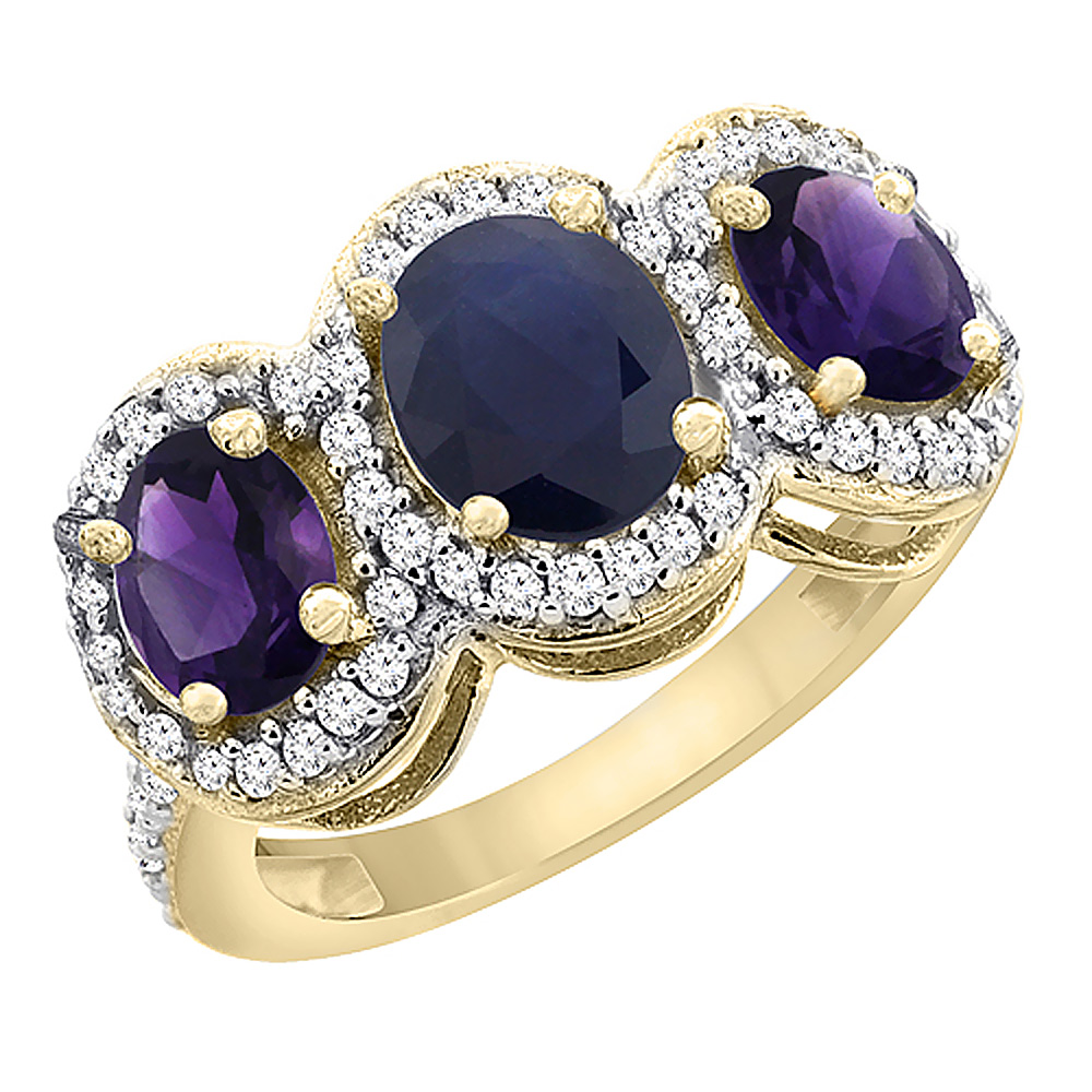 14K Yellow Gold Natural Blue Sapphire & Amethyst 3-Stone Ring Oval Diamond Accent, sizes 5 - 10