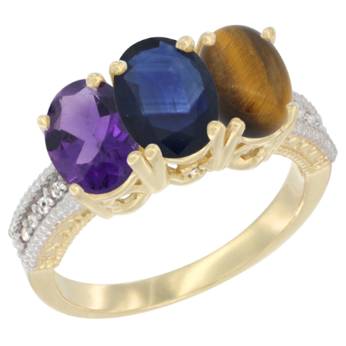 14K Yellow Gold Natural Amethyst, Blue Sapphire & Tiger Eye Ring 3-Stone 7x5 mm Oval Diamond Accent, sizes 5 - 10
