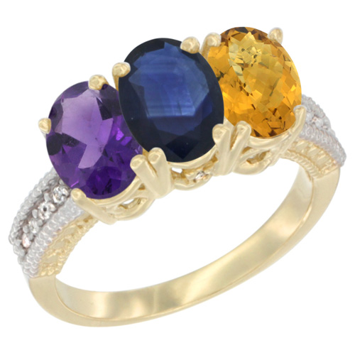 14K Yellow Gold Natural Amethyst, Blue Sapphire & Whisky Quartz Ring 3-Stone 7x5 mm Oval Diamond Accent, sizes 5 - 10