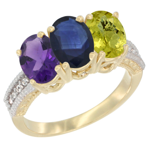 14K Yellow Gold Natural Amethyst, Blue Sapphire & Lemon Quartz Ring 3-Stone 7x5 mm Oval Diamond Accent, sizes 5 - 10
