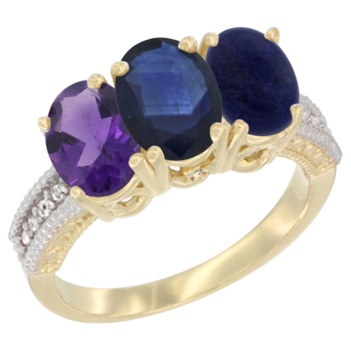 14K Yellow Gold Natural Amethyst, Blue Sapphire & Lapis Ring 3-Stone 7x5 mm Oval Diamond Accent, sizes 5 - 10