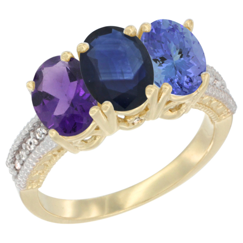 14K Yellow Gold Natural Amethyst, Blue Sapphire & Tanzanite Ring 3-Stone 7x5 mm Oval Diamond Accent, sizes 5 - 10