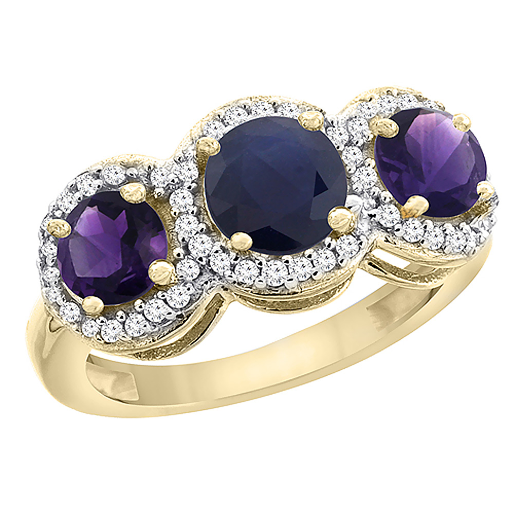 14K Yellow Gold Natural High Quality Blue Sapphire & Amethyst Sides Round 3-stone Ring Diamond Accents, sizes 5 - 10