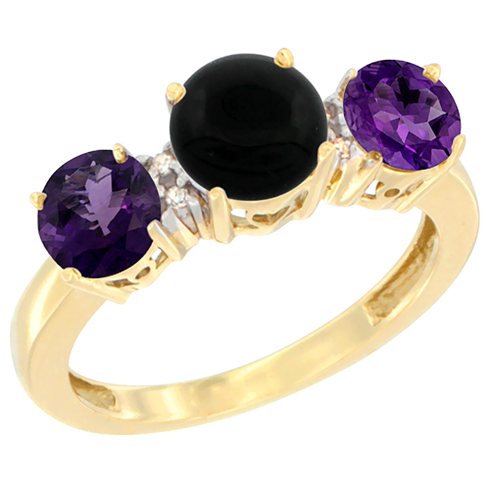 10K Yellow Gold Round 3-Stone Natural Black Onyx Ring & Amethyst Sides Diamond Accent, sizes 5 - 10