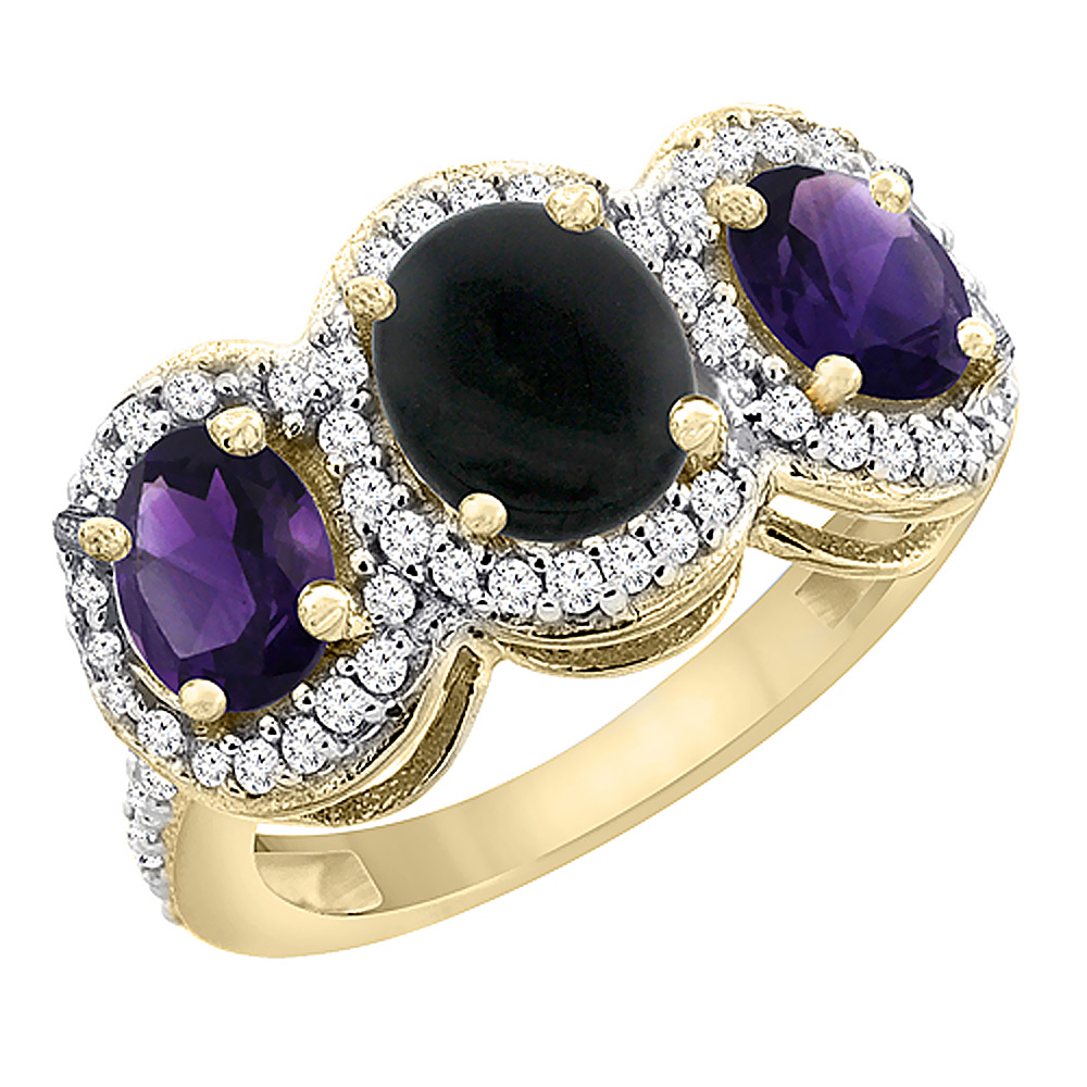 10K Yellow Gold Natural Black Onyx & Amethyst 3-Stone Ring Oval Diamond Accent, sizes 5 - 10
