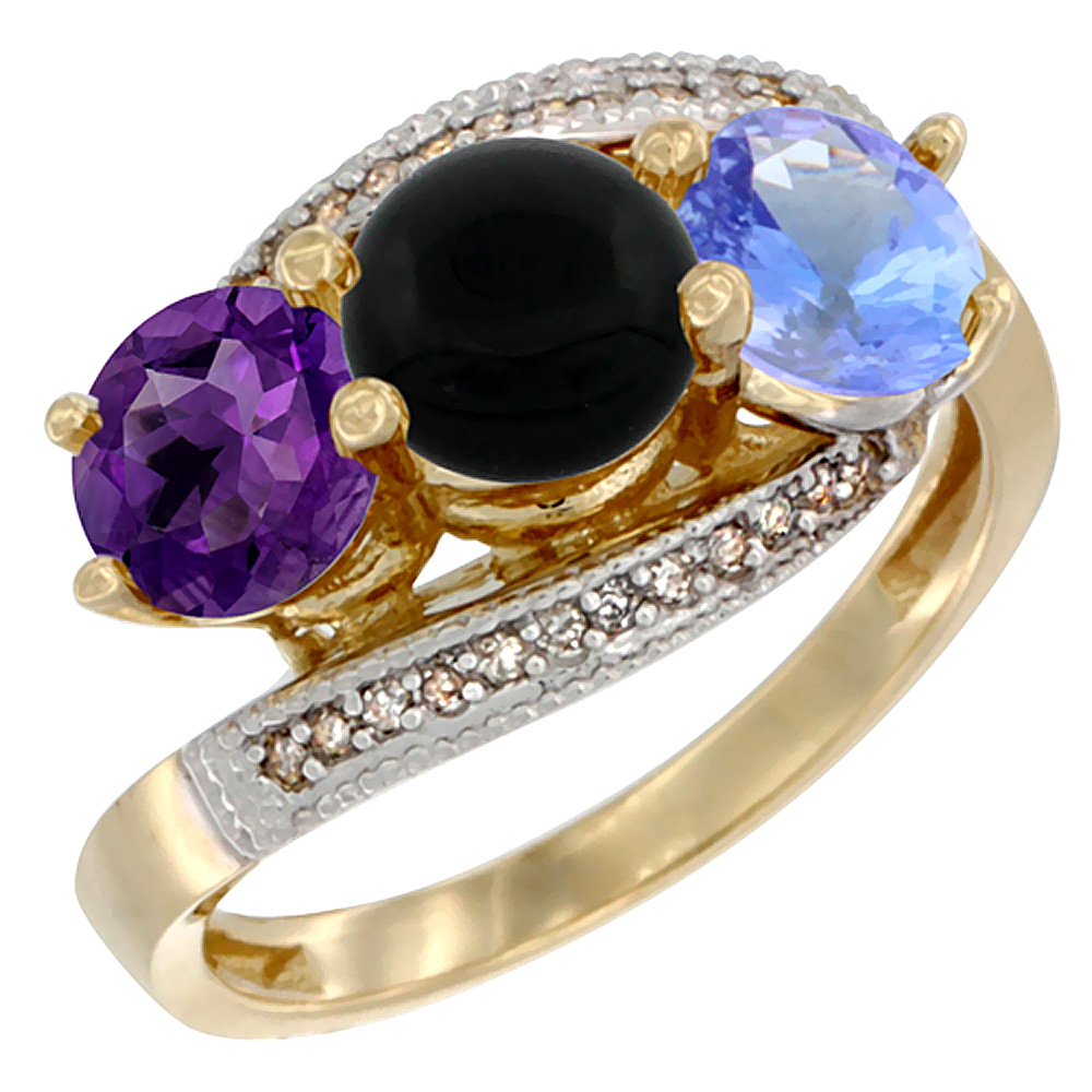 10K Yellow Gold Natural Amethyst, Black Onyx & Tanzanite 3 stone Ring Round 6mm Diamond Accent, sizes 5 - 10