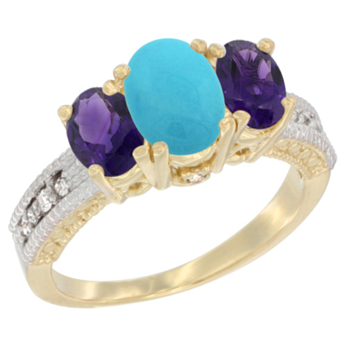 14K Yellow Gold Diamond Natural Turquoise Ring Oval 3-stone with Amethyst, sizes 5 - 10