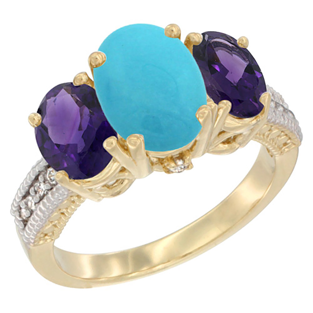 10K Yellow Gold Natural Turquoise Ring Ladies 3-Stone 8x6 Oval with Amethyst Sides Diamond Accent, sizes 5 - 10
