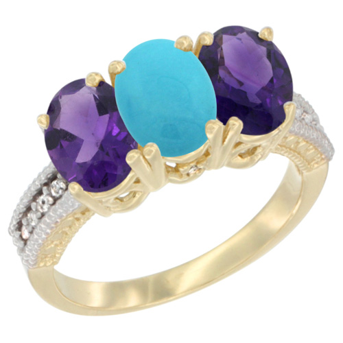 14K Yellow Gold Natural Turquoise & Amethyst Ring 3-Stone 7x5 mm Oval Diamond Accent, sizes 5 - 10
