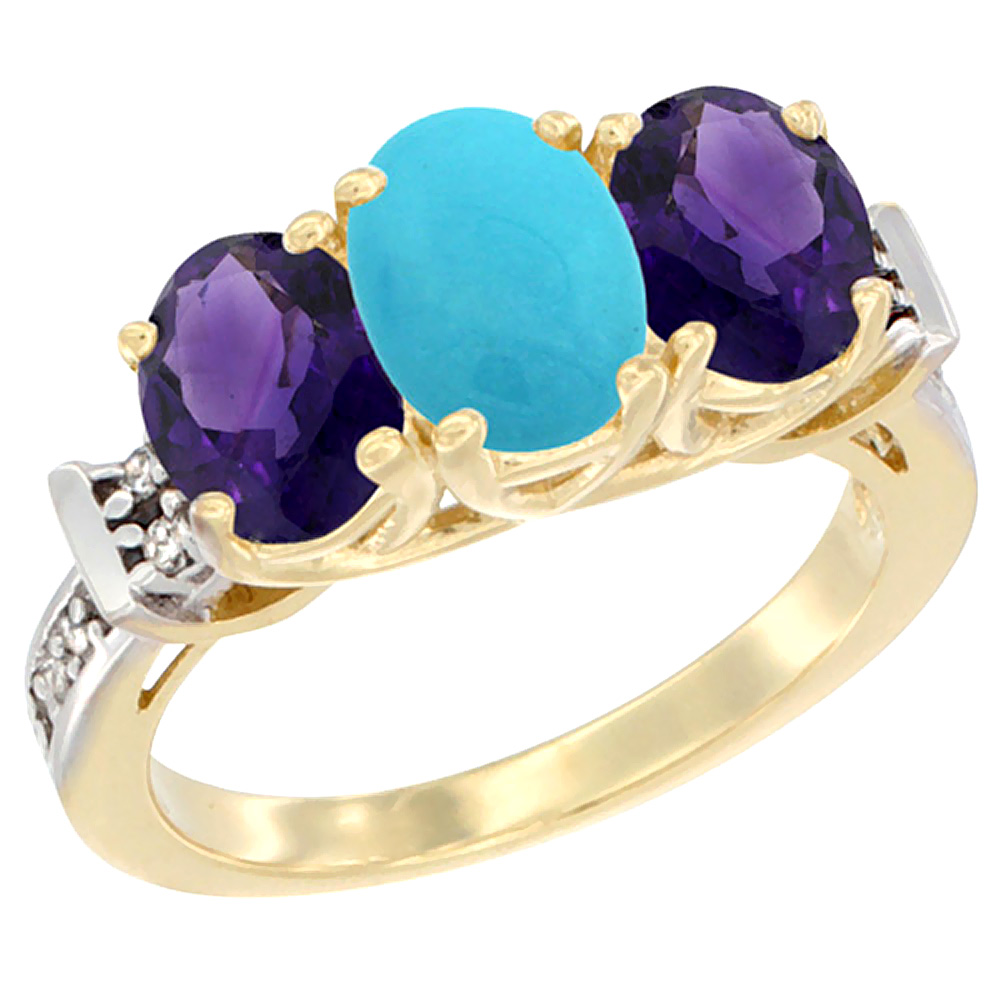 10K Yellow Gold Natural Turquoise & Amethyst Sides Ring 3-Stone Oval Diamond Accent, sizes 5 - 10