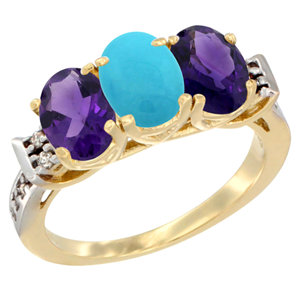 14K Yellow Gold Natural Turquoise & Amethyst Sides Ring 3-Stone 7x5 mm Oval Diamond Accent, sizes 5 - 10