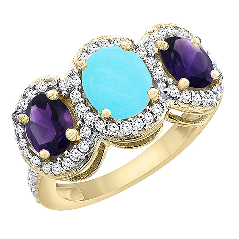 10K Yellow Gold Natural Turquoise & Amethyst 3-Stone Ring Oval Diamond Accent, sizes 5 - 10