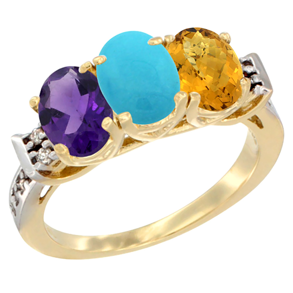 14K Yellow Gold Natural Amethyst, Turquoise & Whisky Quartz Ring 3-Stone 7x5 mm Oval Diamond Accent, sizes 5 - 10