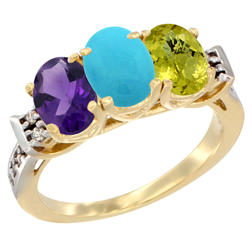 10K Yellow Gold Natural Amethyst, Turquoise & Lemon Quartz Ring 3-Stone Oval 7x5 mm Diamond Accent, sizes 5 - 10